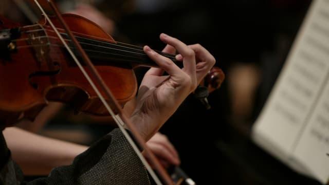 Geige vor Notenblatt