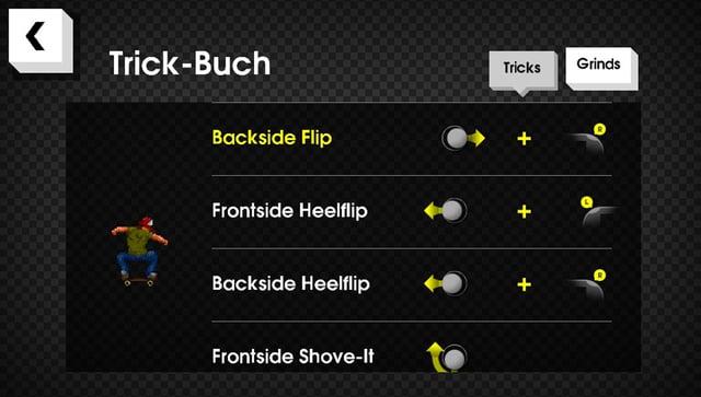 Eine Liste der nötigen Bewegungen für Backside Flips, Heelflips oder Frontside Shove-Its.