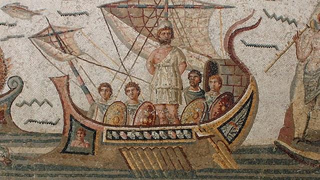 Mosaik von Männern auf einem Schiff