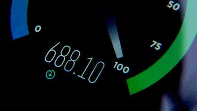 Speedtest zeigt 688Mbit/s an.