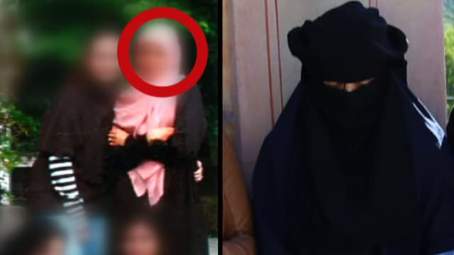 Fotomontage, die auf der linken Seite eine unkenntlich gemachte Frau zeigt. Rechts ist eine verschleierte Frau zu sehen.
