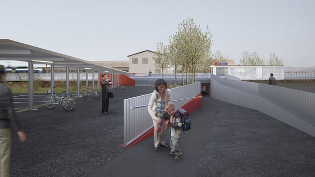 Illustration der neuen Haltestelle in Bellach