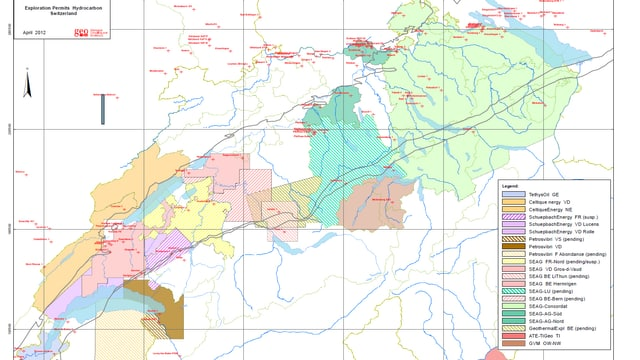 Bewilligungen für Erdgas-Probebohrungen in der Schweiz