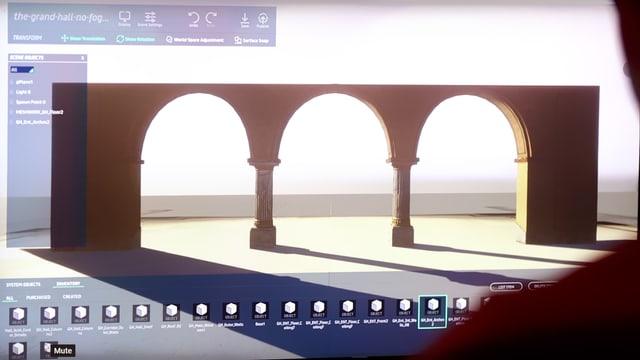 Ein mann erstellt ein 3D-Gebäude am Computer.