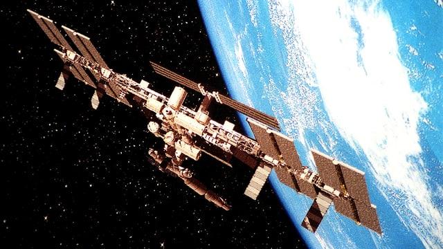 Bild der Internationalen Raumstation ISS vor dem hellen Blau der Erdkugel.
