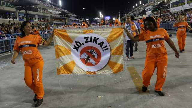 Frauen halten während des Karnevals ein Transparent mit einer Zika-Warnung.