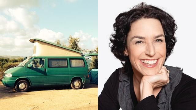 Bildmontage: Joelle Beeler im Porträt und ihr erstes Auto.