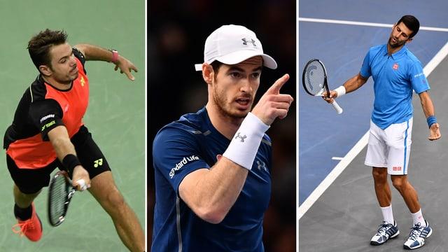Wawrinka, Murray und Djokovic in einer Bild-Collage