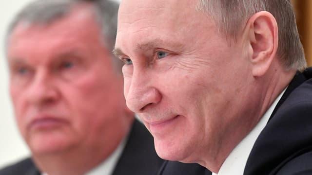 Setschin und Putin in Nahaufnahme.