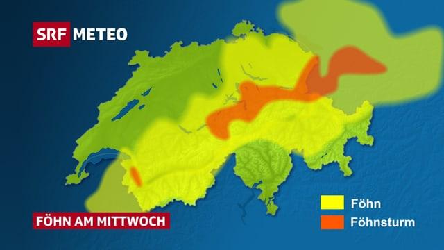 Auf der Schweizer Karte sind gelb und rot die Föhngebiete vom Mittwoch eingezeichnet. Der Föhnsturm beschränkt sich auf die Alpen.