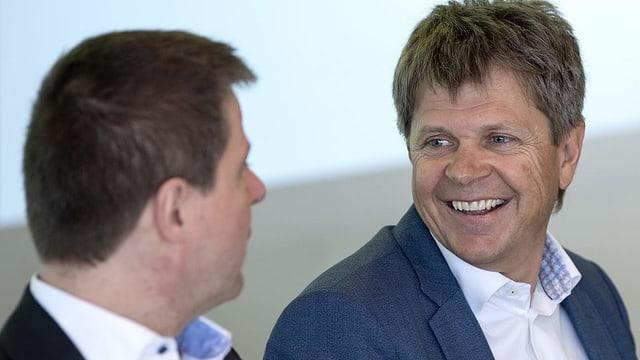 Jürg Grossen neben Martin Bäumle, an der Delegiertenversammlung am 6. April