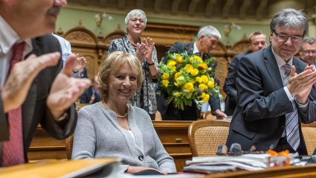 Ursula Haller wird im Nationalrat verabschiedet.