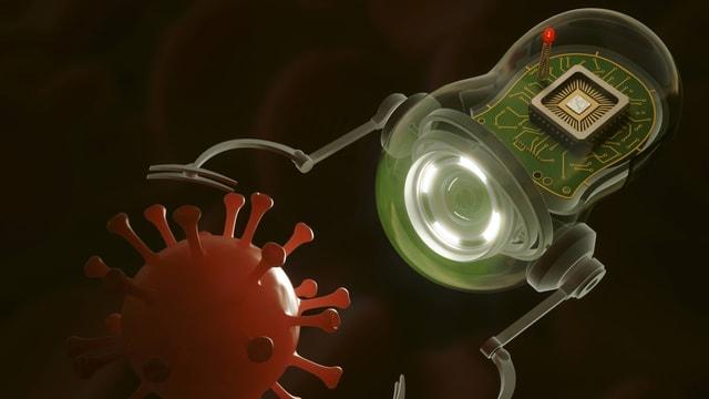 Die Illustration zeigt einen Nano-Roboter, der im menschlichen Körper nach einem Virus greift