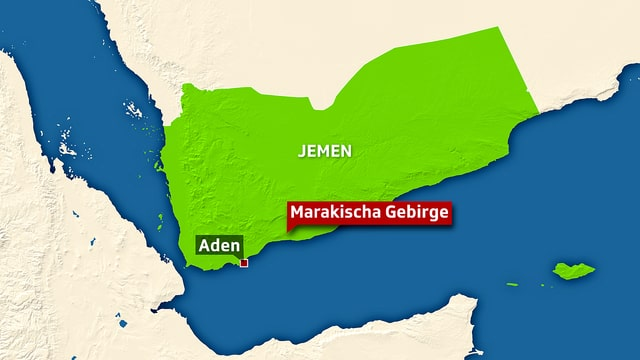 Karte des Gebiets im Jemen, in dem die entführten IKRK-Mitarbeiter freigelassen wurden.
