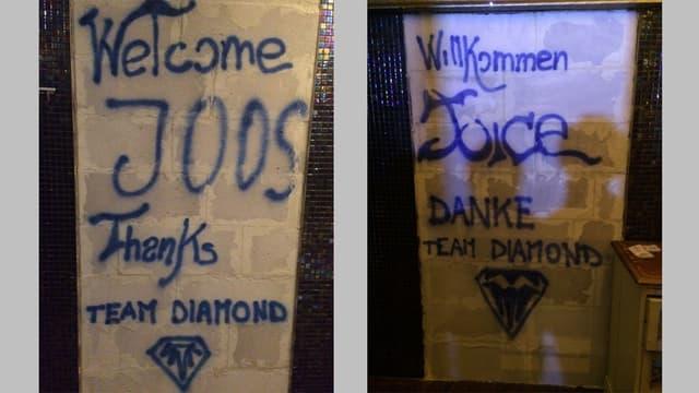 Inscripziuns en la discoteca Diamond a San Murezzan che s'adresseschan al possessur dal edifizi.