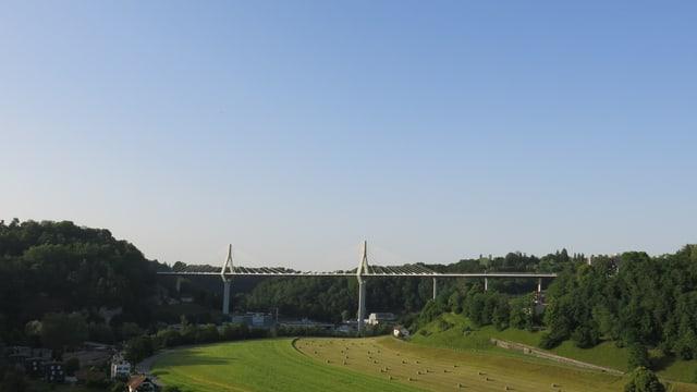 Die Freiburger Poya-Brücke aus der Ferne.
