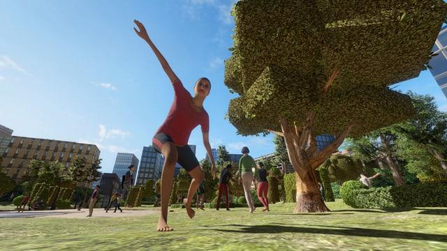 Tänzer auf einer Wiese in einem virtuellen Theaterstück.