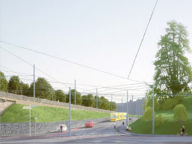 Visualisierung eines 10er-Trams am Margarethenstich.