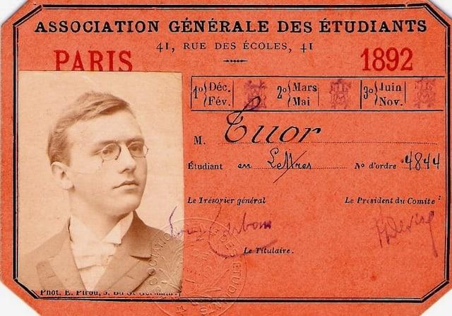 Charta da student dad Alfons Tuor cura ch'el era student a Paris