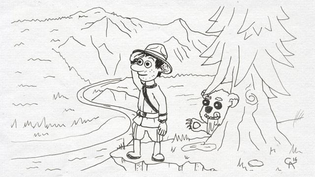 Caricatura cun in survegliader ed in urs