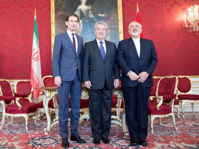 Die drei Staatspolitiker Sebastian Kurz, Heinz Fischer (Mitte) und der iranische Aussenminister Mohammad Javad Zarif