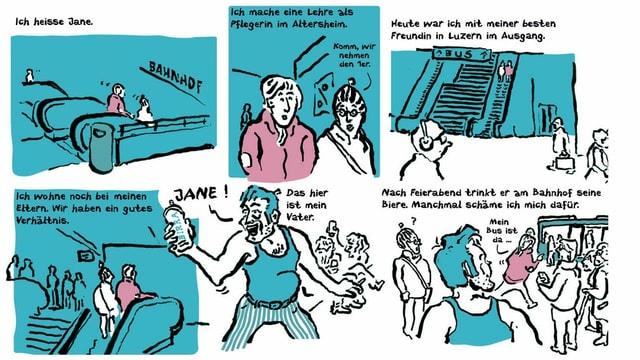 Ausschnitt aus einem Comic der Luzerner Gassenzeitung