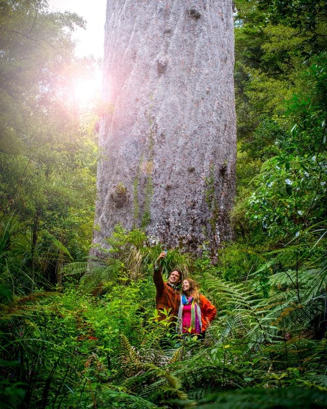 Ein Mann und eine Frau machen ein Selfie vor einem grossen Baum.