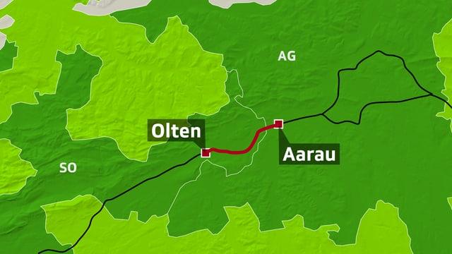 Kartenausschnitt zeigt Strecke Olten-Aarau