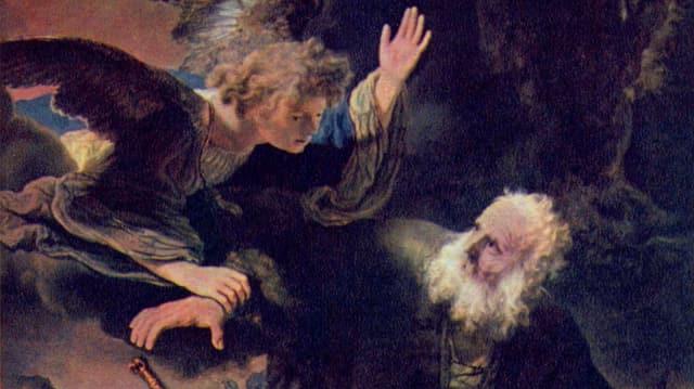 Ein Engel fällt Abraham in den Arm: Ausschnitt aus Rembrandts «Opferung Isaaks».
