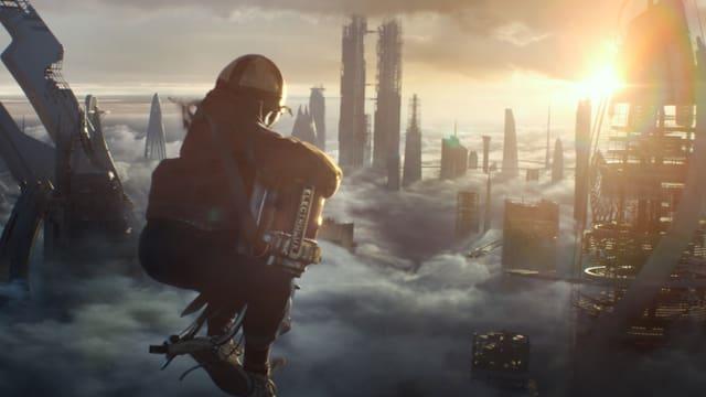 Junge mit raketenrucksack fliegt über futuristischer Stadt