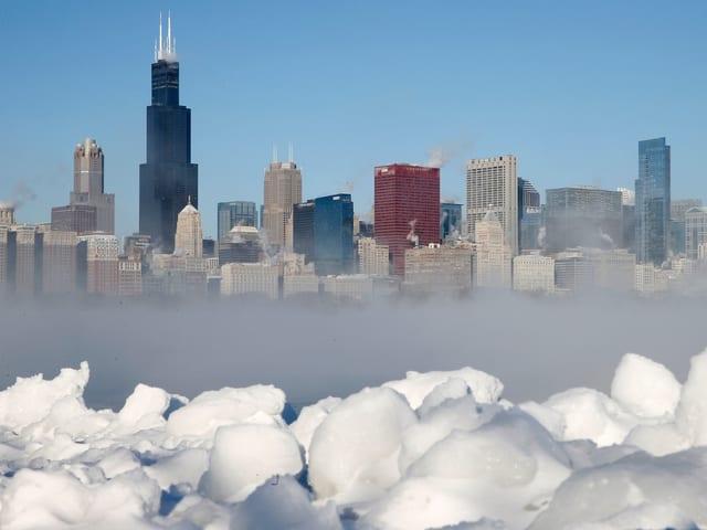 Sky-Line von Chicago im Winter