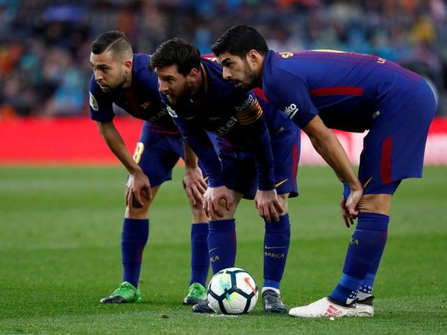 Jordi Alba, Lionel Messi und Luis Suarez