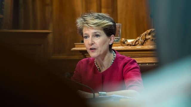 Bundespräsidentin Simonetta Sommaruga im Ständerat.