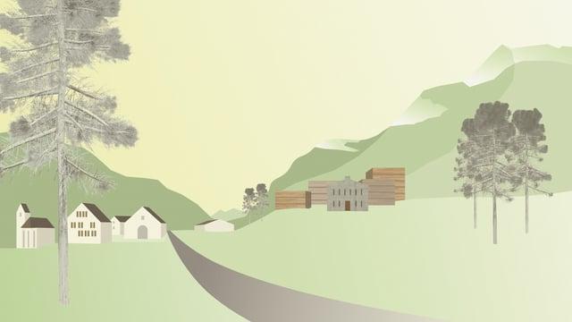 Illustration der Situation mit Strasse in der Mitte, rechts und links Häuser.
