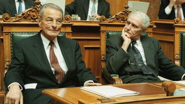 Cotti und Delamuraz im Nationalrat