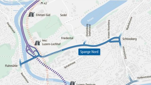 Kartenausschnitt, der die Lage des ursprünglich geplanten Strassenbauprojekts Spange Nord zeigt.