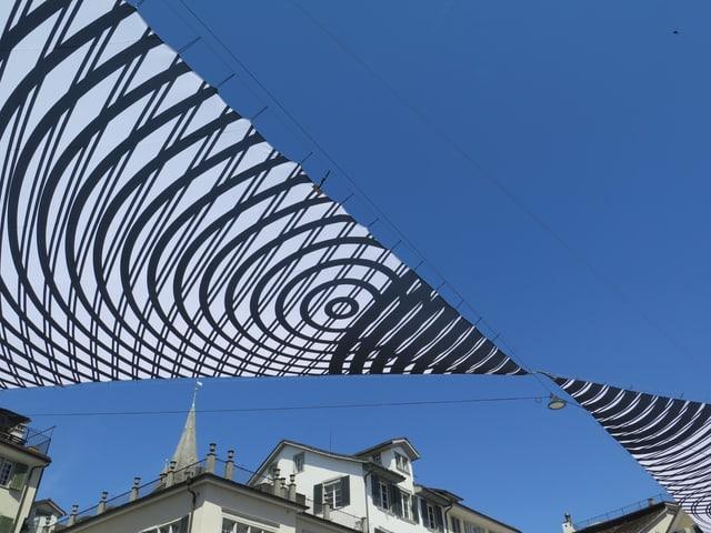 Fotografie in Richtung Himmel - davor zwei Segel in schwarz und weiss, mit konzentrischen Kreisen.