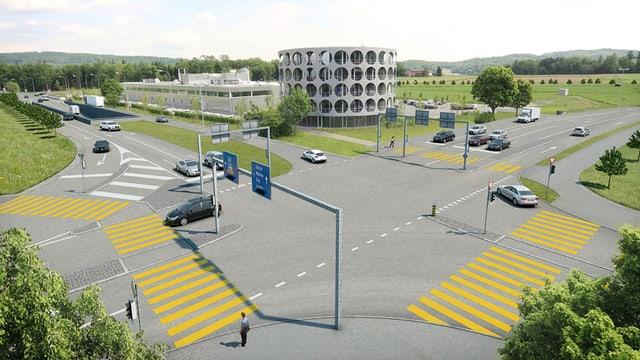 Animation des neuen Knoten Neuhof mit dem markanten Hero-Firmengebäude im Hintergrund.