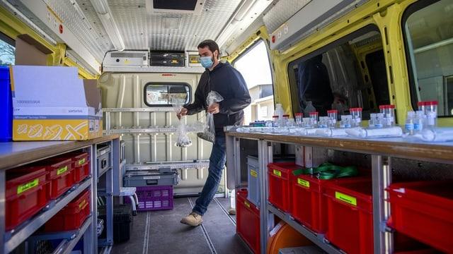 Ein mobiles Labor in einem Wagen.