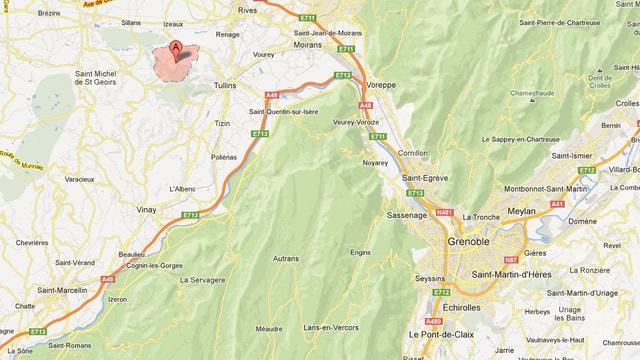 Karte Absturz in der Nähe von Grenoble