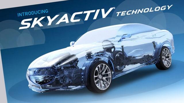 Grafik: Transparentes, sportliches Fahrzeug, darüber steht Skayactiv-Technology