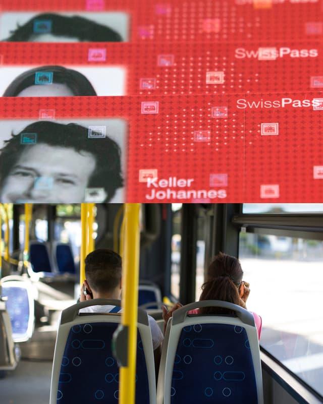 Collage SwissPass und Bus Zürich