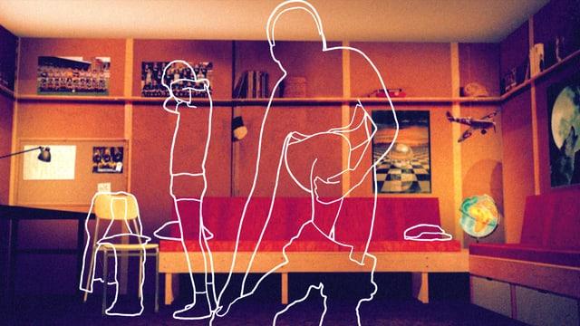 Zwei Personen, nur als Umrisse angedeutet, entkleiden sich in einem Zimmer.