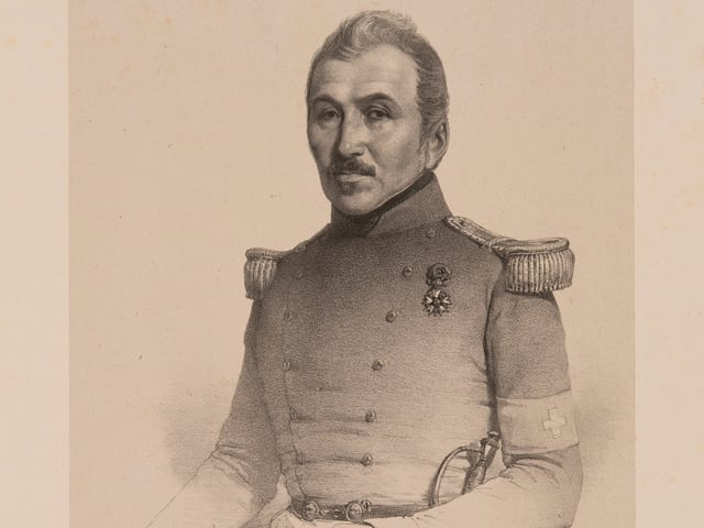 Gezeichnetes Porträt von Oberst Rilliet de Constant. Er führte 1842 das Übungslager in Thun durch.