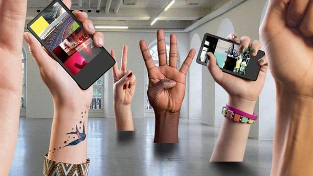 Bildmontage: Halle mit grossen Händen, die Handys in die Höhe halten.