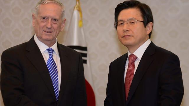 Zu sehen der US-Aussenminister Mattis und Südkoreas Präsident Hwang Kyo-ahn.