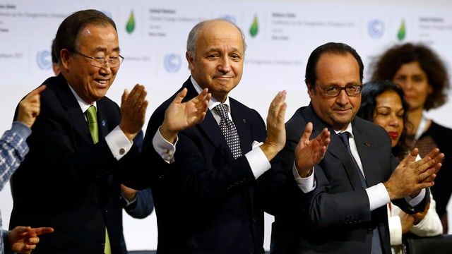 Ban Ki Moon, Laurent Fabius e François Hollande.