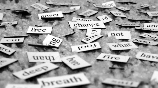 Verschiedene Wörter auf weissen Schildchen liegen auf einer Oberfläche.