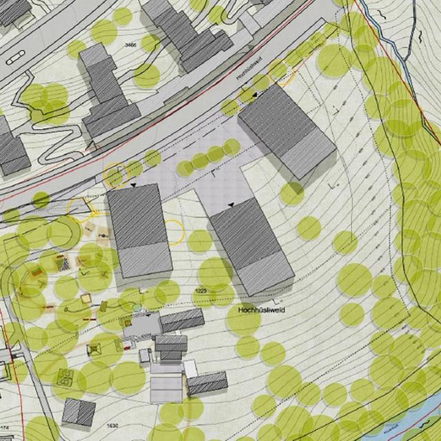 Ein Plan, der ein Bauprojekt auf der Hochhüsliweid in der Stadt Luzern zeigt.