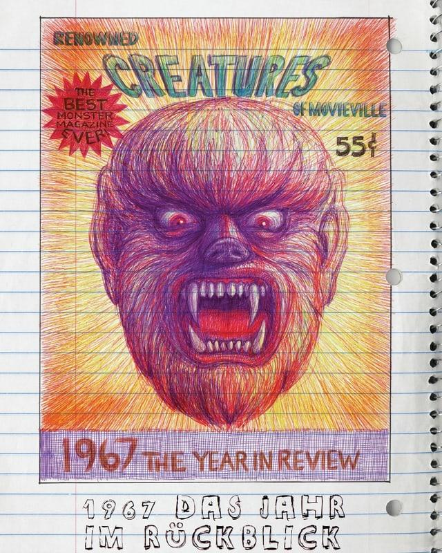 Ein rot-violettes Monster-Gesicht auf einer Seite eines Ringelhefts gezeichnet.